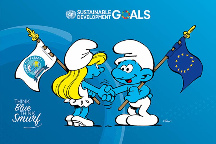 I Puffi e l'UE insieme contro l'inquinamento degli oceani