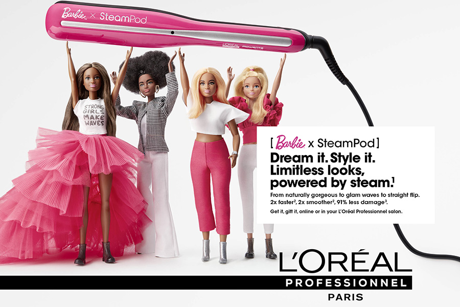 L'ORÉAL PROFESSIONNEL PARIS PRESENTS THE NEW LIMITED EDITION STEAMPOD 3.0 STEAM STRAIGHTENER SIGNED BARBIE